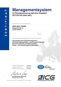 Zertifikat 9001 2015 aktiv plus